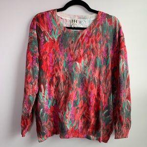 Haute Hippie Watercolor multi lightweight sweater